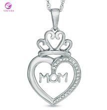Diamond Accent MOM Heart with Crown Pendant Necklace in Sterling Silver