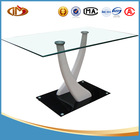 tempered glass dining table with high gloss MDF legs