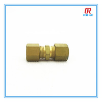 """brass 1/4"""" equal straight pipe fitting with ferrule"""
