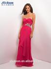 Strapless Sweetheart A Line Floor Length Chiffon Beaded Online Prom Dress Shopping