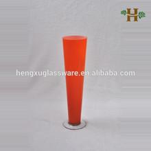Colorido alto cone em forma de vaso de vidro do cilindro, Handmade uso de casamento copos com fundo pitada