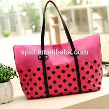 2014 Korean style Spot & Contrast color fashion designer handbag trade shows