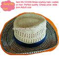paja natural y scala sombrero con ala gran