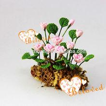 Miniature Pink Roses Dollhouse Fairy Garden flowers vase