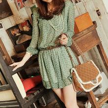 New Fashion Women Lady Chiffon Dress Crew Neck Polka Dots Cats Print Long Sleeve Elastic Waist Mini Dress G0196