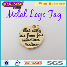 Metal custom logo jewelry tags engraveable round charm metal tag