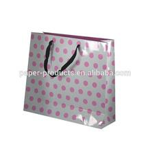 Pink polka dot paper gift shopping bag