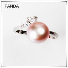 Latest design of pearl finger ring/pearl diamond ring