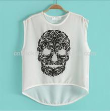 2014 New Fashion Women Skull Printing Chiffon Tshirts Skeletons Skulls Restyle Digital Printed Short Sleeved Tops