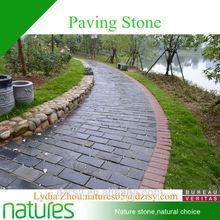 Park and garden outdoors stone material black floor paving slate