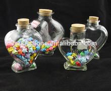pretty heart shape wish glass bottle/glass candy jar/lucky stars glass jar for wedding