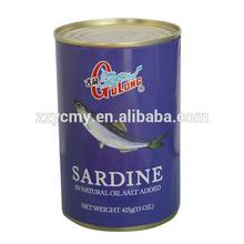 crude sardine fish oil in tin can
