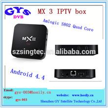 MX 3 Amlogic S802 Quad Core 1GB/2GB ram 8GB rom dual band wifi android mini pc tv box MX 3 quad core smart tv box