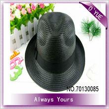 Black Simple Fedora Hat Mens Straw Hat