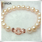 Natural pink round fresh water pearl bracelet with rose gold clasp