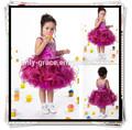 Exquisito con cuentas top y con volantes en capas de organza precioso bebé de las muchachas vestido GL0175