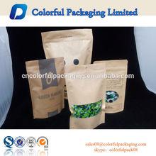 Great selling window and Matte printing Dry food brown kraft paper bags