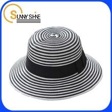SUNNY SHINE custom fashion stripe short brim fedora straw hat