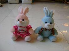 22cm beautiful promotional customized soft stuffed plush couple rabbit wild animal toy with colorful vest&skirt
