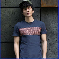 2014 new tide men's O-neck short sleeve slim fit 100% cotton printing T-shirt