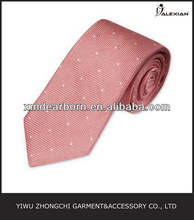 pink woven dots tie skinny