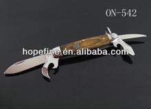 wood handle knife with bottle opener