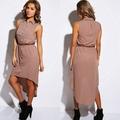 fornitore abbigliamento donna senza maniche camicia asimmetrica abito