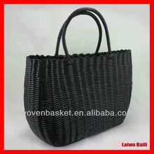 eco-friendly PE handmade woven shopping women's handbag