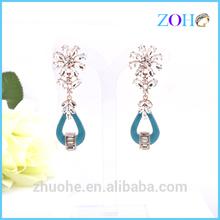 Wholesale fashion atmosphere zircon blue eardrop