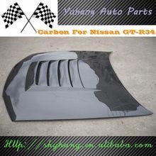 FOR Skyline R34 GTR Nismo Style Carbon Fiber Bonnet Hood