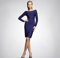 Goingwedding Hot Sell V Neck Long Sleeve Tight Open Elegant A Line Neck bandage evening dress 2014