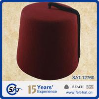 Black tassel 100% Australian wool tassel felt fez hat