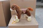 27*16*30cm promotional customized baby brown plush rocking horse toy with saddle&wheels