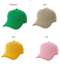 Adjustable Velcro Hats blank baseball cap kelly green / khaki / gold / pink baseball cap