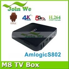 New M8 Quad core android tv box 4.4 version amlogic s802 chip S82 hd 1080p H.265 4k/2k media player smart tv box