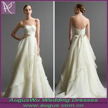 AW162 Simple Strapless A-line Ruffle Alibaba Wedding Dress Organza Fabric