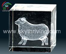 crystal sheep 3d laser crystal cube souvenirs