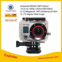 12MP wireless Waterproof 60M Ambarella Wifi Sport Camera RD990 carcorder car black box