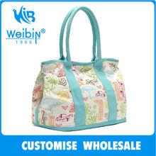 Top quality fashionable striped canvas bag women canvas shopping bag