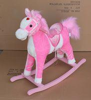 78x28x68cm promotional customized children pink/white plush rocking horse toy with pink saddle&wooden base