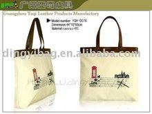 NAPLE yellow Lady cartoon printed CANVAS Hand Bag tote bag leather handle