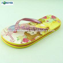 Lovely imprinted and cheap PE flip flops slipper for girl 2013