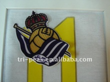 3D embroidered epaulettes + Flocking heat transfer for football wear/Soccer jersey