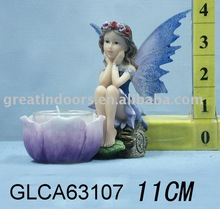 Polyresin fairy figurine with wings for garden decoration