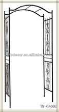 New design black color wrought iron garden arche