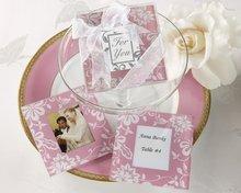 pink frame glass photo coaster