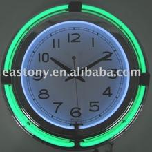 15inch Neon Wall Clock,Double Tube Wall retro Quartz Neon light Clock,Neon Clock