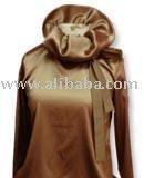 Bias-cut oversized turtle neck blouse
