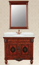 Antique Design Bathroom Cabinets,Bathroom Vanity with Marble Vanity Top and Ceramic Basins
