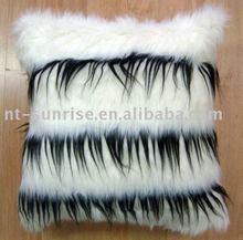 White & Black Long Hair Plush Cushion